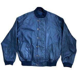 Polo Lauren Ralph Blue Bomber Large Leather Jacket